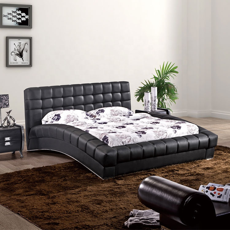 Modern Curve Design Black King Size Luxury Comfortable Upholstered Leather Bed Frame Double Bed