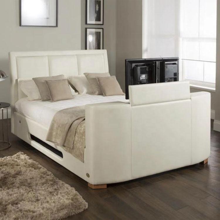 europe design wholesale black queen size leather bed tv frames white tv bed frame