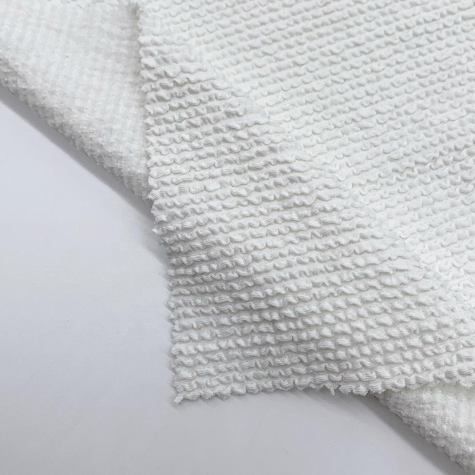 Recycled yarn polyester spandex fabric crinkle seersucker fabric for swimwear bikini dress
