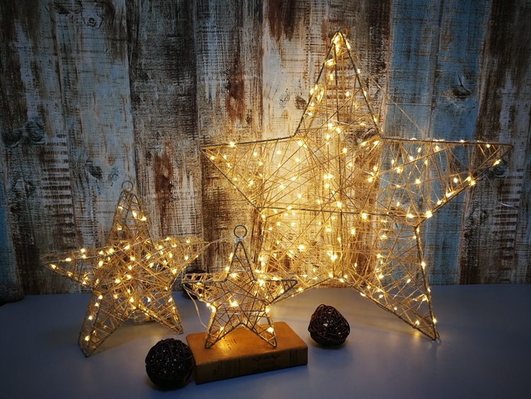 high quality best selling battery operated metal 3d christmas outdoor lights commercial star light