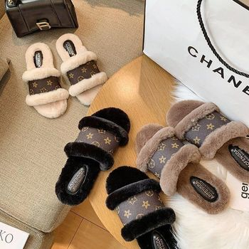 Fashion Womens Slippers Fluffy Fur Slippers Faux Slippers For Women