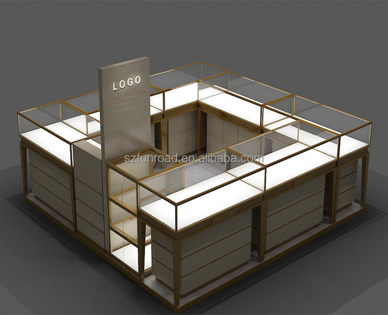Luxury Shopping Mall Jewelry display kiosk Design / Jewelry Showcase Display for retail store