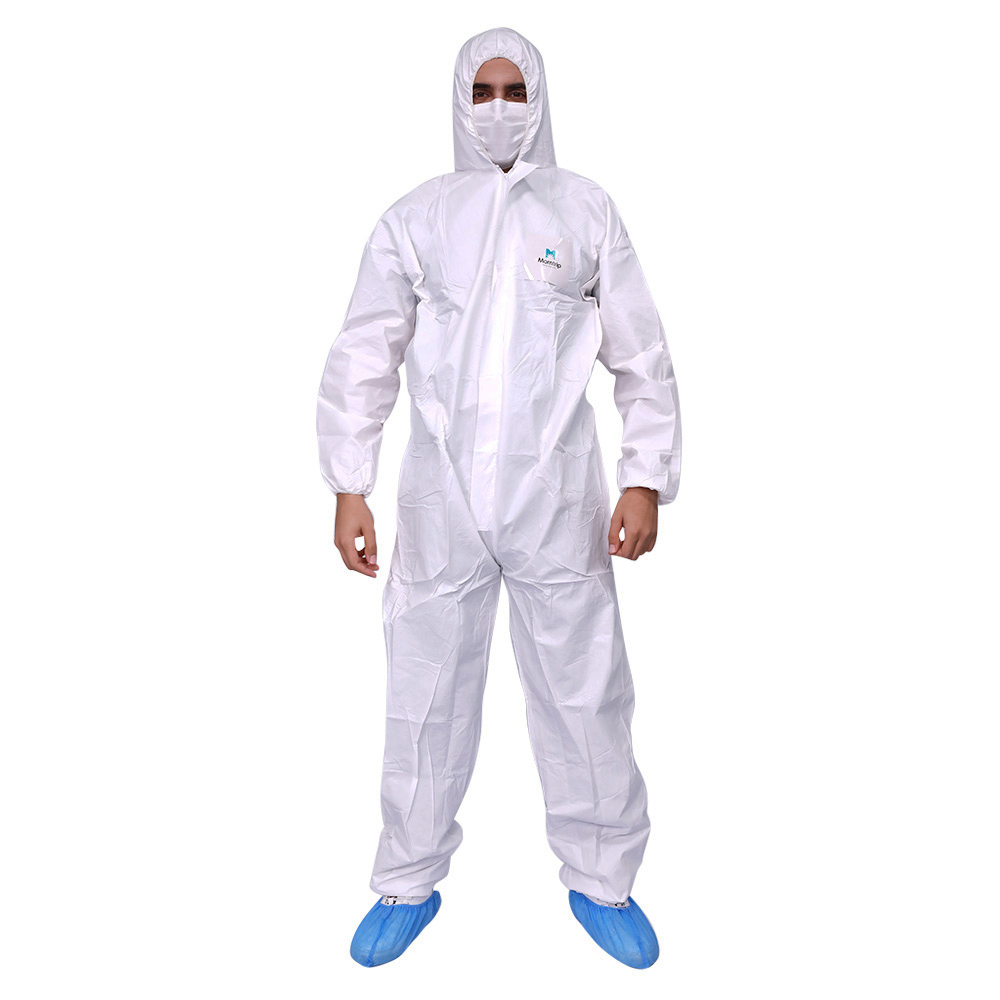 Plastic Industrial Waterproof Particulate Splash Resistant Disposable Hooded White Microporous Coverall Suit Safety Clothing - KingCare | KingCare.net