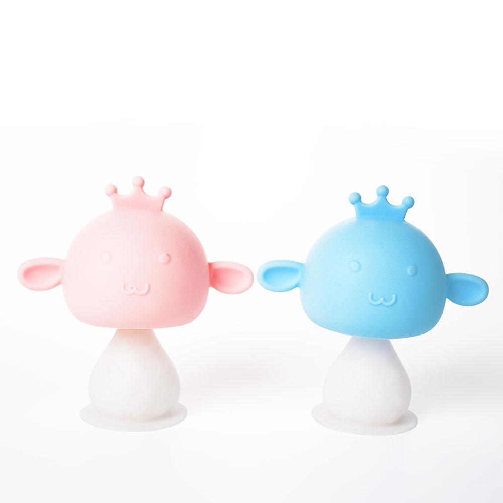 2021 Amazon Hot Sell BPA Free Kids Infant Soothing Rattling Mushroom Teether Baby Teething Rattles Toys
