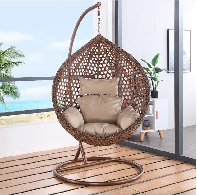 Уличное кресло из ротанга с одним сиденьем, подвесное кресло-качели, уличная мебель