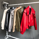 Fashion Style Red Black Khaki Olive Green White Gray Motorbike Genuine Women Leather Motorcycle Sheepskin Jacket Top