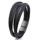 Bangles Bracelet Men Multilayer Leather Bangles Magnetic-clasp Cowhide Braided Multi Layer Wrap Trendy Bracelet Armband Pulsera Hombre