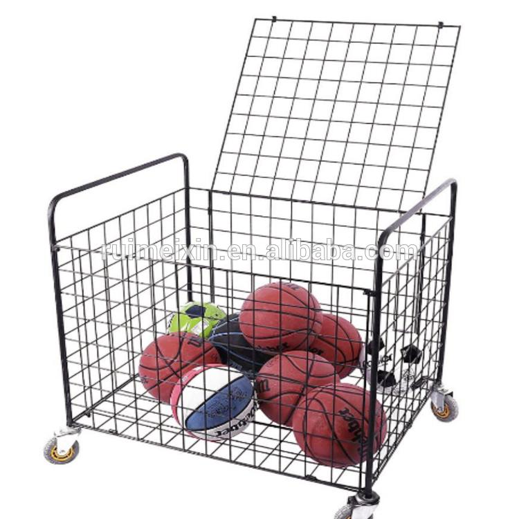Портативная Спортивная стойка-держатель для мячей, баскетбольная тележка для теннисных мячей, демонстрационная корзина
