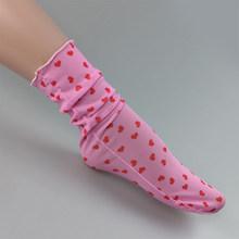 OMSJ черные/розовые прозрачные носки в ретро-стиле с принтом сердца, летние крутые женские мягкие короткие носки, женские короткие прозрачные...(Китай)