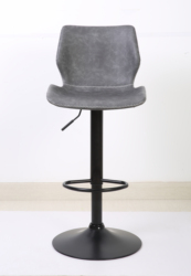 Adjustable height swivel metal frame bar stool with antique pu cushion seat