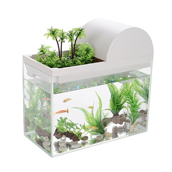 Office small fish tank super white transparent glass turtle tank living room home desktop round mini small gold fish tank