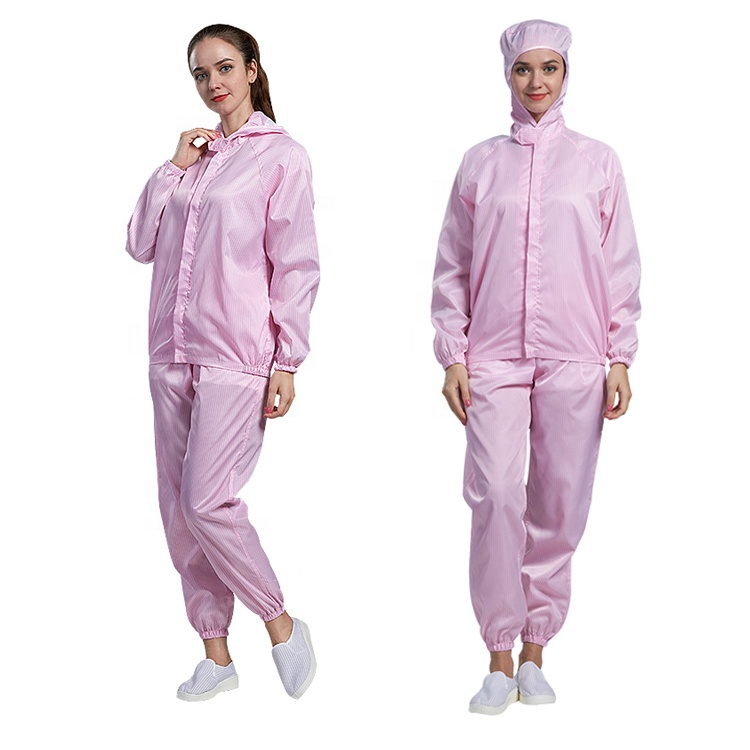 Cleanroom esd clothing anti-static two pieces clothes with hood - KingCare | KingCare.net