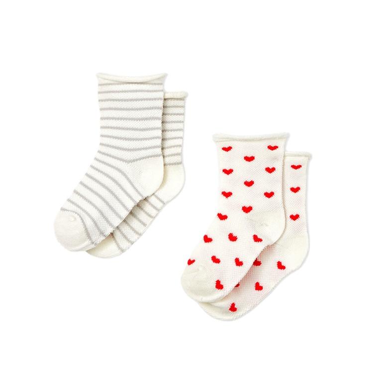 Factory Wholesale 2 Pairs Set Cute Dotted Baby Cotton Socks Custom Knitting Seamless Toddler Kids Crew Socks