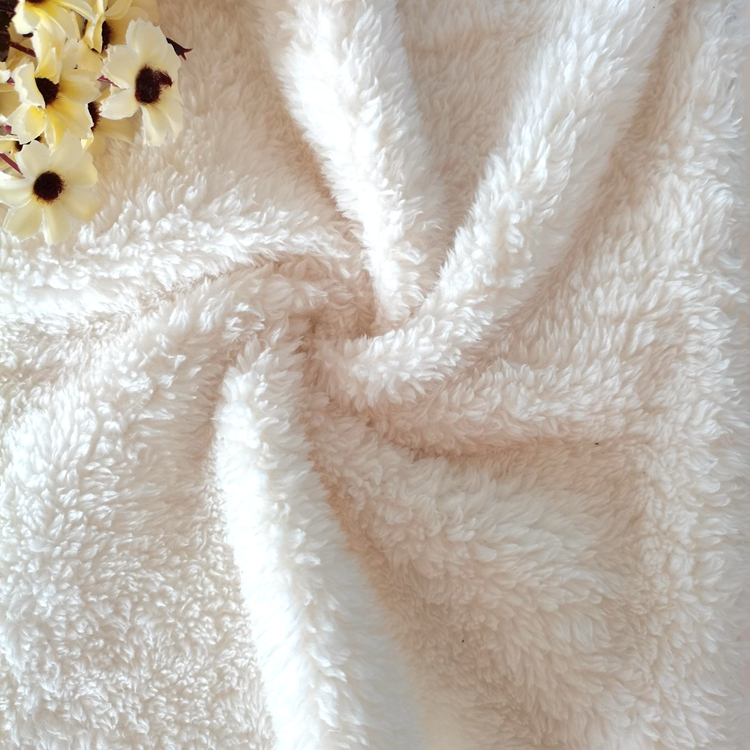 hot selling 100 polyester knitted two side sherpa fleece fabric for winter warm coat jacket