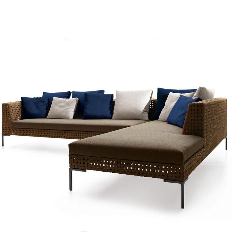 Современный алюминиевый уличный обеденный стол и стул, Набор садовых диванов из ротанга