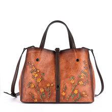 Винтажная женская сумка из натуральной кожи с тисненым цветком, женская сумка через плечо, ручная цветная женская сумка через плечо из воло...(Китай)