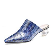 MLJUESE женские шлепанцы из мягкой бычьей кожи, в римском стиле, летние сандалии синего цвета с кристаллами, вечерние, свадебные, размер 40, 2020(China)