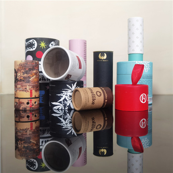 Paper Packaging Tea Tin Lid Canister Packaging Cardboard Box Cmyk Printing Rolled Edge Paper Cylinder Tube with metal lid