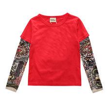 Новинка, детские футболки с длинными рукавами и рисунком тату хлопковая футболка для мальчиков детская футболка осенние топы для девочек в...(Китай)