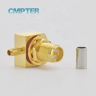 RPSMA Right Angle Waterproof Bulkhead Female Jack IP67 Rf Coaxial Connectors Crimp For RG174 RG188 RG316 LMR100 Cable