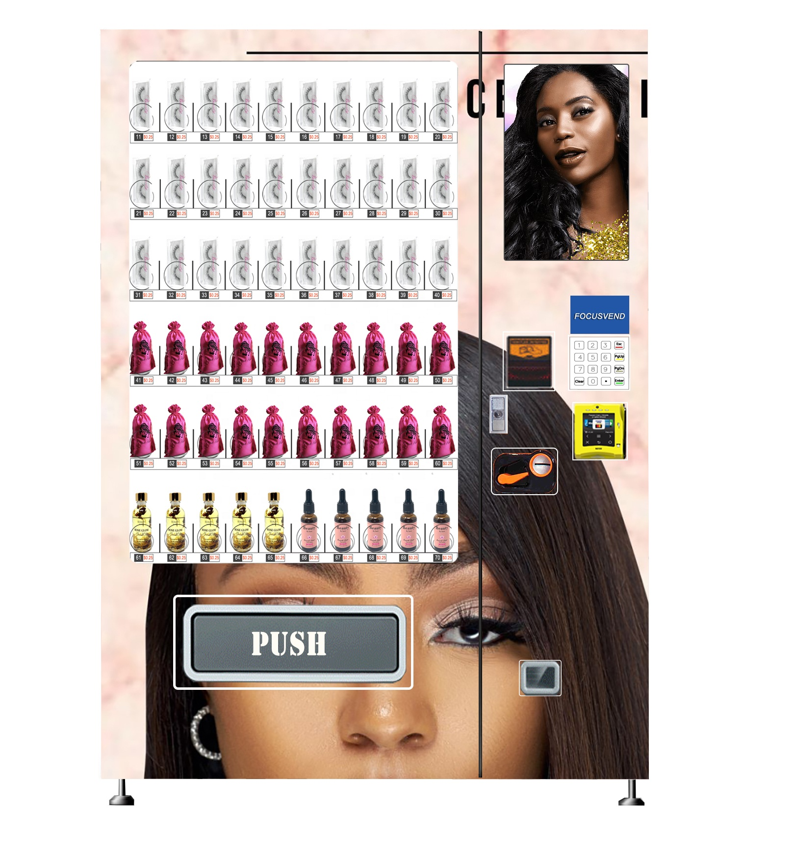 New cosmetic vending machines for wigs lipstick and perfume