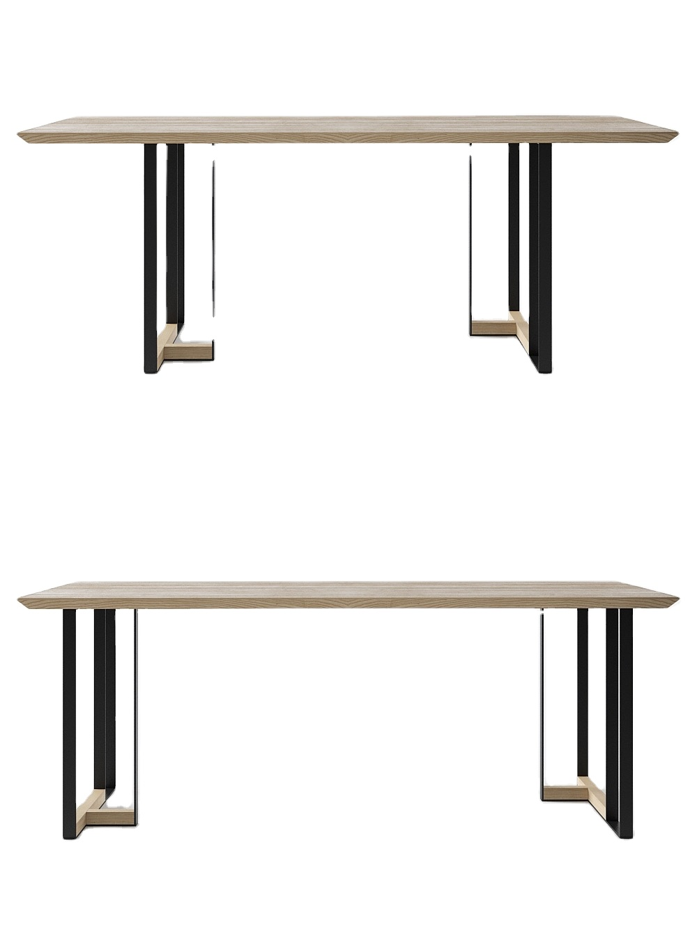 modern home furniture dining table set paper covered MDF kitchen dining table set fixed dining table