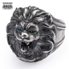 White Gold 925 Sterling Silver Retro Lion Ring