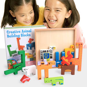 Kindergarten Non-Toxic Cartoon Animals Early Educational Kids Wooden Toys Funny Table Game Wood Puzzle Blocks