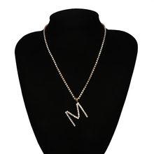 Роскошное сексуальное хрустальное ожерелье M/A/N с буквенным принтом, колье-чокер, свадебные Стразы в стиле панк, длинная цепь колье для ключи...(Китай)