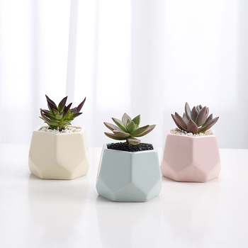 Wholesale geometric design small cute succulent pots indoor living room ceramic gift pot for home garden decor flower plants