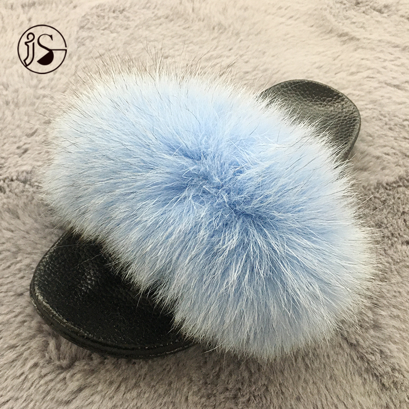 Popular Outdoor women shoes real fox fur slippers slides women