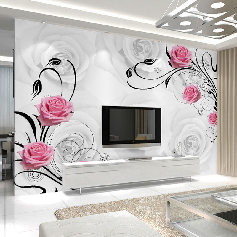 Customized 3d Flower Photo Wallpaper Living Room Bedroom Sofa Tv Background Wallpaper Rose Flowers Wall Mural Wallpaper Roll Buy Black And White Wallpaper Kitchen Wallpaper Stickersr Mural Printer Product On Alibaba Com