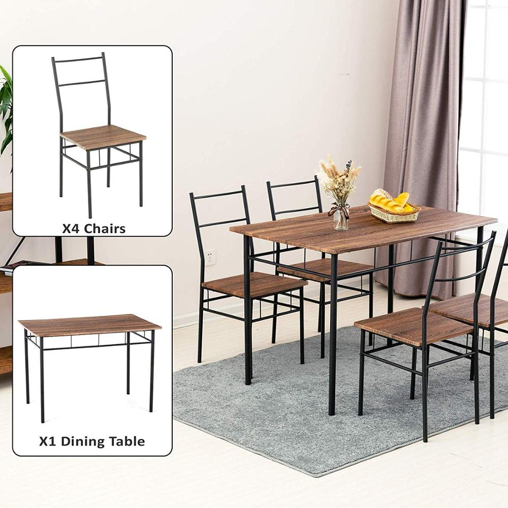 Cheap Dining Table With Chair Set Simple Dining Kitchen Room Wood ...