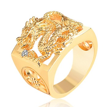 Men style 18k gold plated ring dragon rings gold jewelry