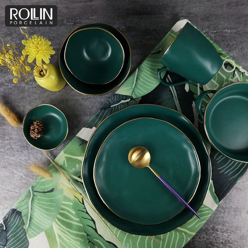 Wholesale Tableware Factory Price New Design Green Color Glazed Ceramic  Dinner Set - Buy Porcelain Tableware,Restaurant Dinnerware,Dinner Sets  Product on Alibaba.com