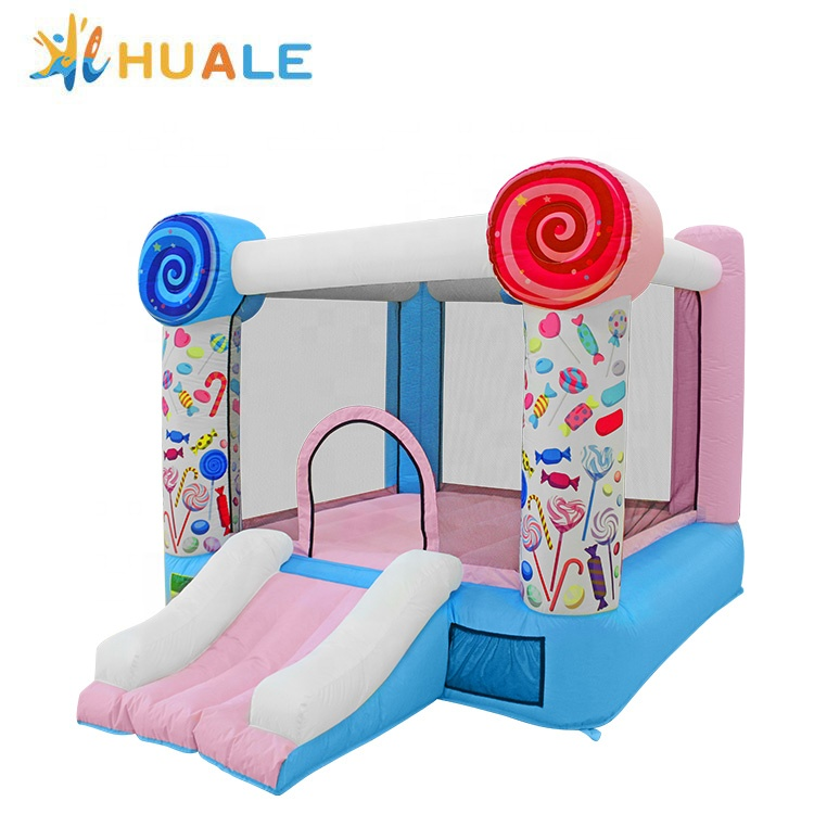 Candy theme bouncer house inflatable jumping bouncy kids indoor and outdoor toy home use Oxford durable material factory price