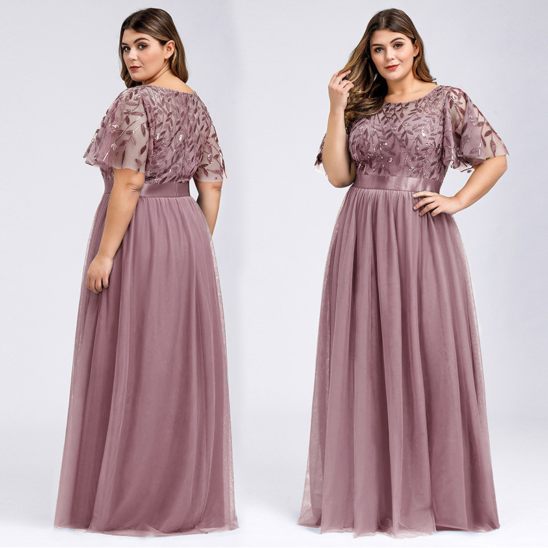 Ever-pretty Plus Size Elegant Boat Neck Sequin Mesh Evening Bridesmaid Dresses