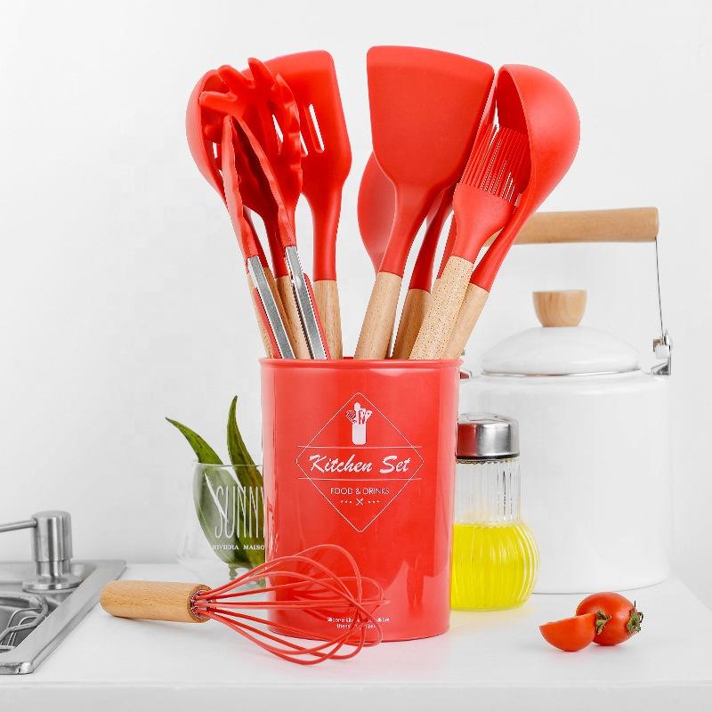 12 piece Nonstick  Kitchenware Set Wooden handle Silicone Spatula Set Cooking Utensil Set