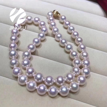 Nice quality Japanese akoya cultured pearl necklace in traditional design for women with 9K clasp