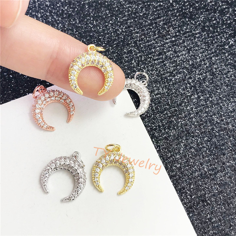 10-20pcs Micro Pave CZ Crescent Pendant,Black Metal Copper CZ Horn Charms For Jewelry Making