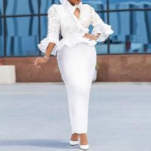 Элегантные кружевные оборки длинные платья Для женщин 2020 весенние дизайнерские облегающее ужин вечерние платье обувь в африканском стиле; ...(Китай)