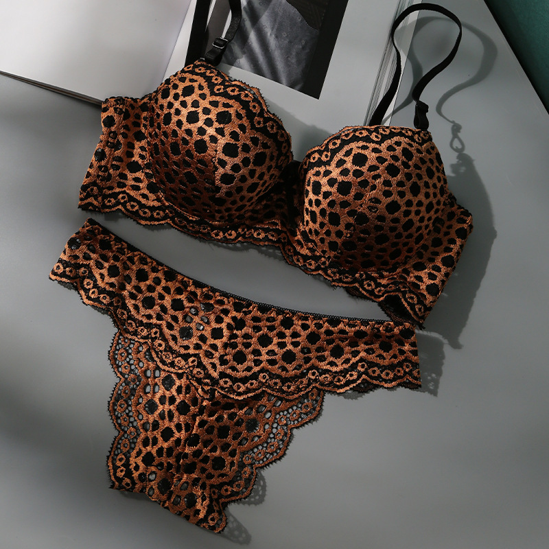 2021 B C cup valentines day bras thong hollow out sets adjustable breathable gather animal print leopard sexy panty and bra set
