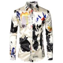 Мужская шелковая рубашка с принтом, повседневные облегающие вечерние рубашки с длинным рукавом(Китай)