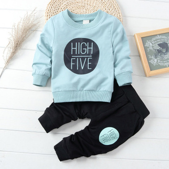 Wholesale cheap kids baby boys girls pullover set clothes for 2-6 Years
