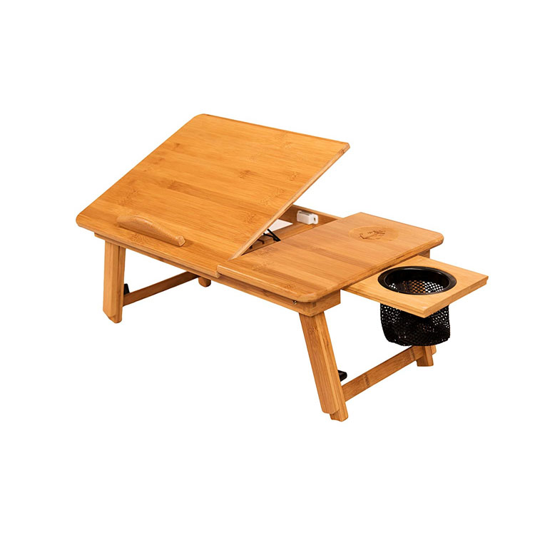 Adjustable Bamboo Bed Computer Table Sample Breakfast Serving Laptop Desk Workstation Tray Storage Organizer with flodable Legs