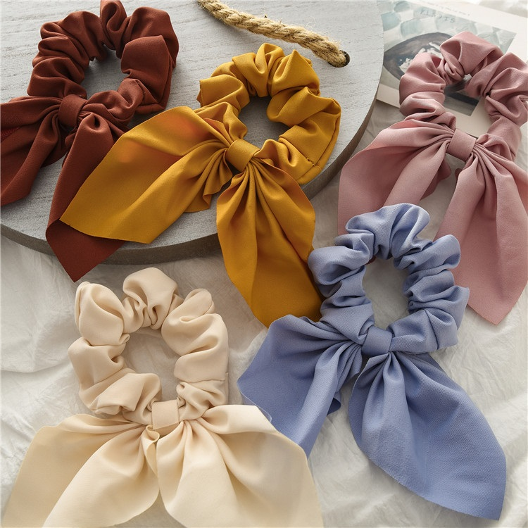 Good Quality Solid Color Yellow Camel Pink Hair Band Hair Gym XL Scrunchie Personalized