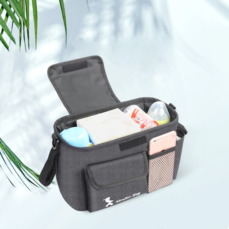 New Arrival Large Capacity Black Kodra Fabric Stroller Organizer With Insulated Cup Holders Baby Stroller Organizer Bag