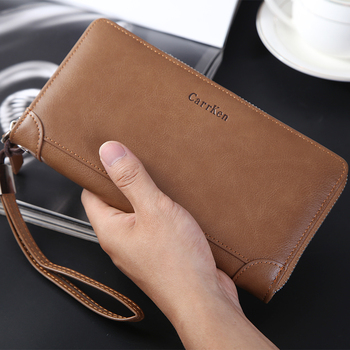 Men's bag 2020 new trendy fashion leather clutch bag large capacity zipper long mobile phone bag wholesale