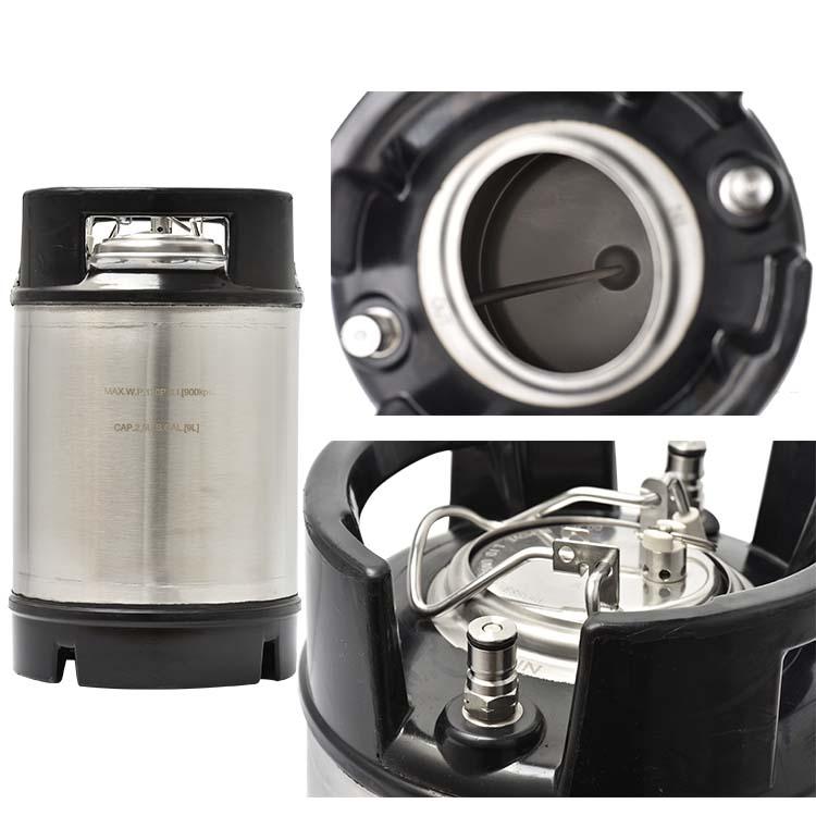 100% New (9l) 2.5 Gallon Cornelius Ball Lock Keg With Rubber Handle Pressure Relief Valve Lid Ball Lock Kegs