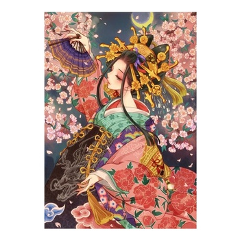 5D DIY Diamond Painting Family Decoration Cross Stitch Full Circle Diamond Painting Japanese Geisha Girl Support Custom Photos